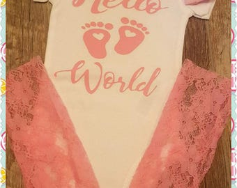 Preemie, Newborn, Hello World, Onesie, Bow & Lace Leggings Set - Choice of White, Lavender or Pink - Great Baby Shower Gift/Coming Home Set