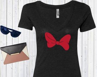 Minnie Bow Disney V neck Tshirt / High Quality Disneyland Tshirt / Disneyworld Custom Shirt [E0849]