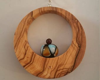 Pendant wooden Olivier and his glass of Murano bead