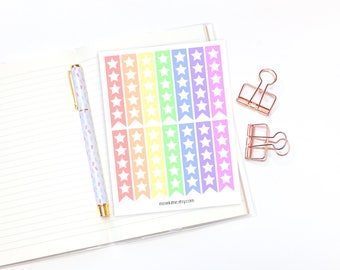 To-Do list flag planner stickers - 14 rainbow star box stickers for erin condren life planners, for happy planners, journal stickers