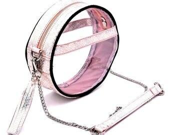 Circle Clear Handbag- Pink Holographic