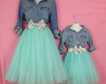 "Mother daughter Matching  dress Set""Aqua""  Knee length tulle skirt, mommy and me tulle skirt , tutu skirts, wedding skirts, plus size"