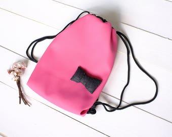 Girls pink drawstring Backpack, Kids drawstring Backpack, Gym bag, Snack-back, Dance bag
