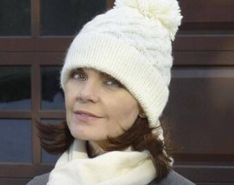 Lattice Cable Knit Pom Pom Winter Hat