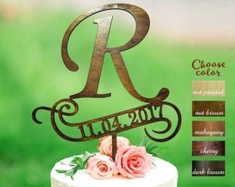 Letter r cake topper, cake toppers for wedding, letter wedding cake topper, initial cake topper, cake topper r, sign cake topper, CT#174