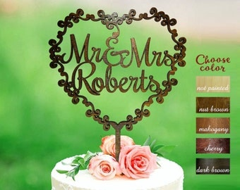 Surname Cake Topper, Mr and Mrs Cake Topper Wooden, Wedding Cake Topper, Custom Wedding Cake Topper, wreath cake topper for wedding, CT#200