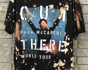 Bleached and Distressed Vintage Paul McCartney Shirt World Tour Out There