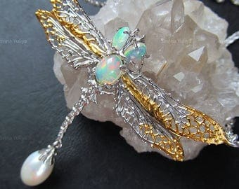 Natural Big Fire Genuine Opal Handmade Silver Dragonfly Necklace, Fine Jewelry