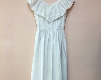 Lanz Originals vintage 1980's white eyelet garden party wedding  DRESS boho