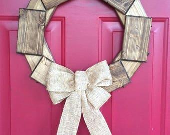 "Dk. Walnut Wood Wreath with Burlap bow 18"" diameter. Farmhouse wreath, front door wreath, rustic wood wreath, pine wreath, front door decor"