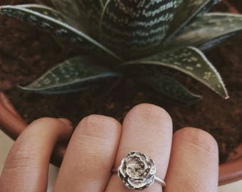 Rose silver ring silver flower ring Stacking Ring Flower silver ring rose jewelry Bridesmaid Gift anniversary gift floral ring rose ring