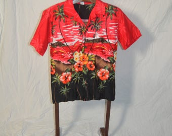 Mens Palmwave Red Palmtrees Tropical Flowers Dolphins Button Front Hawaiian Shirt - Size Small