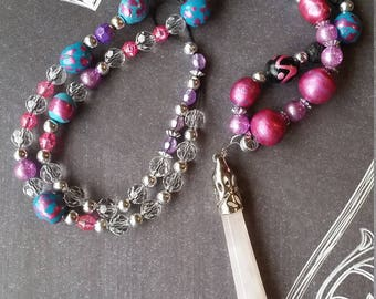 Rose Quartz pendant on pink and blue art beaded necklace.