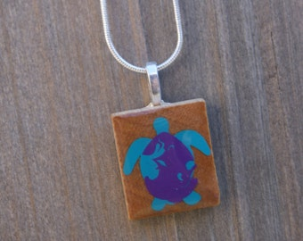 handmade sea turtle scrabble tile necklace