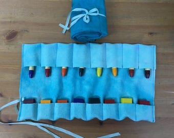 Waldorf Crayon Roll- for Stockmar Block and Stick  Crayons- Crayon Pouch- Waldorf Supplies