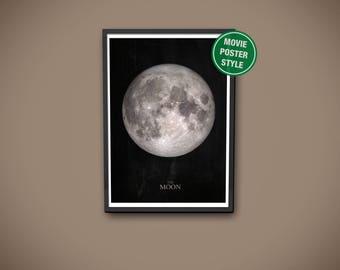 Full Moon Print, Moon Phase Print, Full Moon Wall Art, Moon Phase Art Print, Lunar Art Print, Moon Phase Decor, Moon Poster, La Luna Print