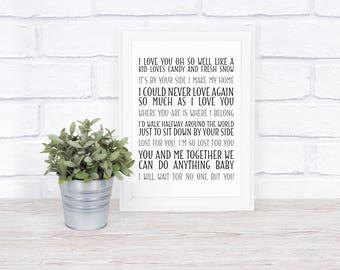 Dave Matthews Band - Collage of Lyrics - Love Lyrics - Digital File