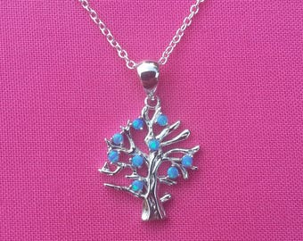 "Blue Fire Opal Tree Necklace- 925 Silver Filled- Necklace and Pendant- 18"" Link Chain- Tree Of Life- Family Tree- Gift"