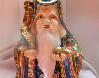 China Satzuma, Longevity Shouxing God, wise, Beautiful porcelain Satzuma immortal, sage porcelain Satzuma, marked