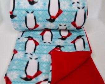 Happy Penguins Fleece Blanket Throw