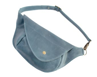 Leather belt bag, hip bag, bag on belt, fanny pack, waist bag leather, women belt bag, leather waist bag, belt pouch, handmade, light blue