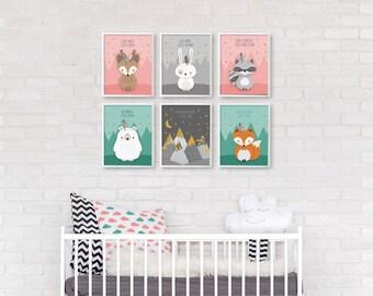 Nursery print set, Woodland nursery, Nursery set of 6, Nursery print set 6, Fox nursery, Bear, Deer Raccoon, Woodland baby shower, Printable