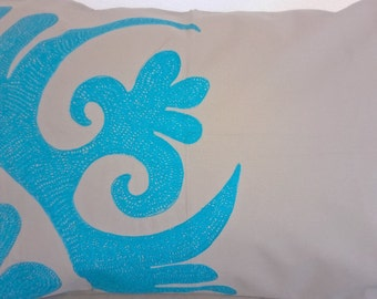 XL Grey and Turquoise embroidered pillow cover Accent pillow Turquoise pillow case Decorative pillow