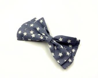 Hair bow clip/Large hair bow/Hair clip bow stars print/Hair bow clip Stars/Gray Hair bow white stars/Hair Bow Rockabilly/Hair Bow Pin up/
