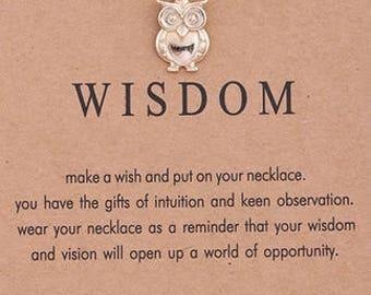 Wisdom- Dogeared- Gold Charm Necklace- Small Owl Charm