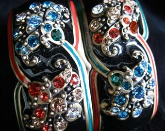 Jay Strongwater Paisley Bejeweled Black Enamel Napkin Rings