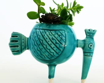 Turquoise Ceramic Succulent Mini Pot, Home Decor, Handmade Ceramic Mini Planter, Blue Pottery, Succulent Planter, Succulent Pot, Gift, Crow