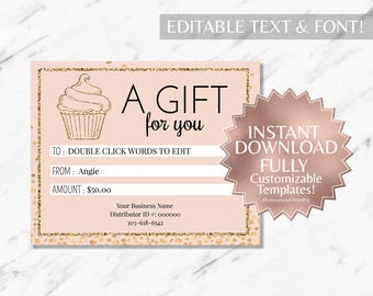 Gold Glitter and Blush Pink Bakery Gift Certificate Template