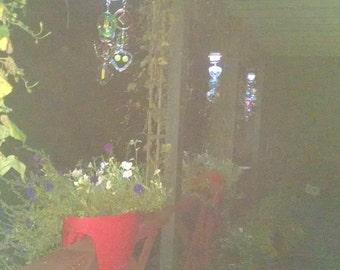 NEW Solar LED light on glass wind chime, Suncatcher, glass Windchimes, Patio decor, Yard art, Garden art, Unique gift, 24