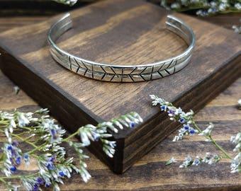 Geometric Flat Cuff / Handmade Cuff / Stacking Cuff / Sterling Silver Cuff Bracelet / Southwest Cuff / Unisex Cuff / Double Band Cuff