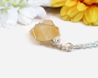 Raw citrine chunk necklace, wire wrapped, natural citrine crystal pendant, pale yellow quartz, high quality crystals, November birthstone