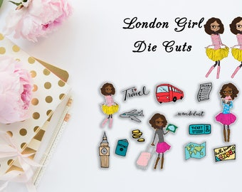 Travel Girl: London Die Cuts or Sticker Flakes