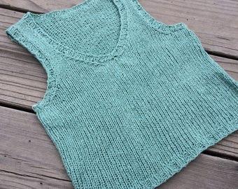 9-12 month Linen Sweater Vest - sage