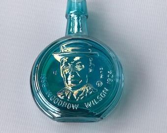 Wheaton Mini Bottle, 70's Presidential Series, Woodrow Wilson, Iridescent Glass Decanter