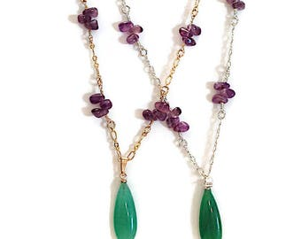 Gold or Silver Necklace with Purple Amethyst and Green Quartz