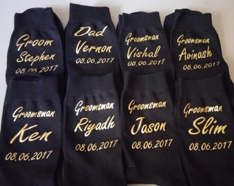 Personalised Wedding socks,Iron On  Decal for Socks,  Black colour socks  ;groom , best man, groomsman, groom gift, perosnalised socks