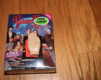 Addams Family Cereal (1991) The Thing Flashlight Sealed Box Ralston 1990s Morticia Gomez Pugsley Lurch Adams It Coffin Car Haunted House