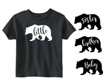 YOU CHOOSE! Baby Bear Little Bear Brother Bear Sister Bear Tribal T-Shirt Boy Girl Black White Baby Shower Gift