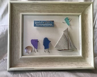 Sea Glass Picture Art - A day at the beach