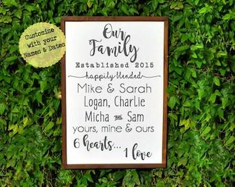 Blended Family Wedding Gift, BLENDED FAMILY WEDDING, Wedding Gift for Blended Family, Blended Family Sign, Family Sign, Our Family Sign