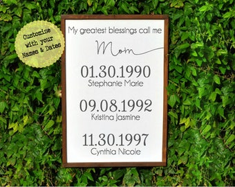 Personalized Gift Ideas for Mom, My Greatest Blessings Call me Mom Birthday Gift for Mom, Wife Anniversary gift for her, Mothers Day Gift