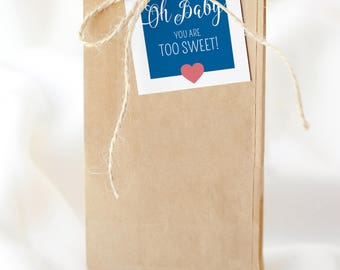 "Oh Baby! Baby Shower by Arbor Grace Collections, 2"" x 2"" PRINTABLE INSTANT DOWNLOAD, Party Favor Tags"