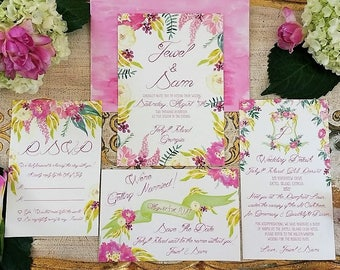 Watercolor Wedding Invitation Suite, 4 piece. Envelopes Included. Romantic, Vintage Wedding.
