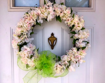 Green & White Themed Floral Spring Wreath