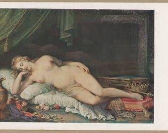 Classical Venus In Slumber | Golden Hair | Sleeping Beauty | Roman Goddess | Resting Amongst Treasures | 1930's Vienna Museum Art Postcard |