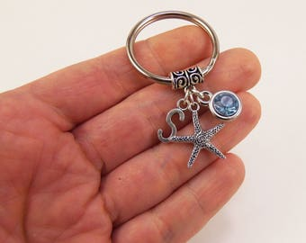 Starfish keychain, star fish key chain, starfish party favors, starfish car accessories, starfish party favor, star fish birthstone keychain